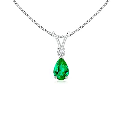 Angara Pear Shaped Emerald Teardrop Necklace in White Gold acA2g3