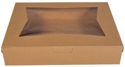 "Southern Champion Tray 23133K Kraft Paperboard Lock Corner Window Bakery Box, 19"" Length x 14"" Width x 4"" Height (Case of 50)"