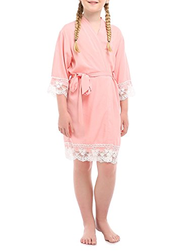 missfashion Girl's Junior Bridesmaid Rayon Cotton Lace Robe for Wedding Gift(12,Light - Lace Robe Jersey