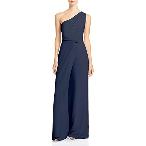 HALSTON Womens One Shoulder Asymmetric Jumpsuit Blue 10