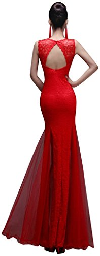 Drasawee Dress Prom Sexy Gowns Rose Wedding Evening Neck Lace Women Slit V Red Mermaid 8arp8gqn