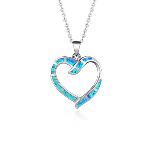 14k Hollow Dolphin Charm - FANCIME 925 Sterling Silver Blue Opal Hollow Heart Pendant Necklace Long Chain Dainty Jewelry for Women Girls 16