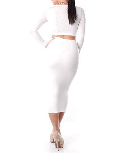 PU&PU Robe Aux femmes Moulante Sexy , Couleur Pleine U Profond Midi Coton , white-xl , white-xl