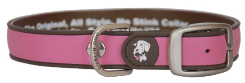 Dublin Dog Waterproof Dog Collar, Medium 13 inches - 18 inches, Pink Brown
