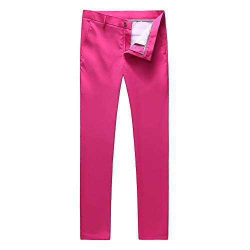 UNINUKOO Mens Tuxedo Slim Fit Business Wedding Suit Pants US Size 36 Pink ()