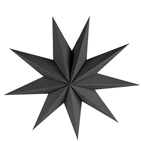 3D Nine Angles Paper Star Hanging Christmas Lantern Home Party Decoration Craft |Item - Black 45cm|