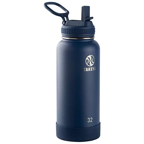 Takeya Actives Insulated Stainless Steel Water Bottle with Straw Lid, 32 oz, Midnight