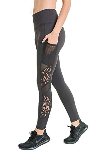 Mono B Red Women's Highwaist Floral Lace & Mesh Full Pocket Leggings (APH6108-Charcoal Grey) Size Large