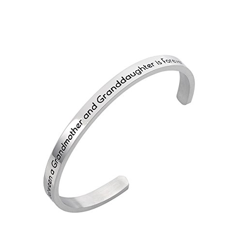 Stpower Grandmother Granddaughter Gift ''The love between a grandmother and a granddaughter is forever'' Message Cuff Bracelet by Stpower (Image #5)