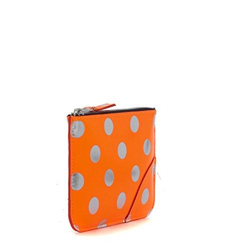 Bolso de mano Comme Des Garçons Wallet en piel laminada naranjo y plata