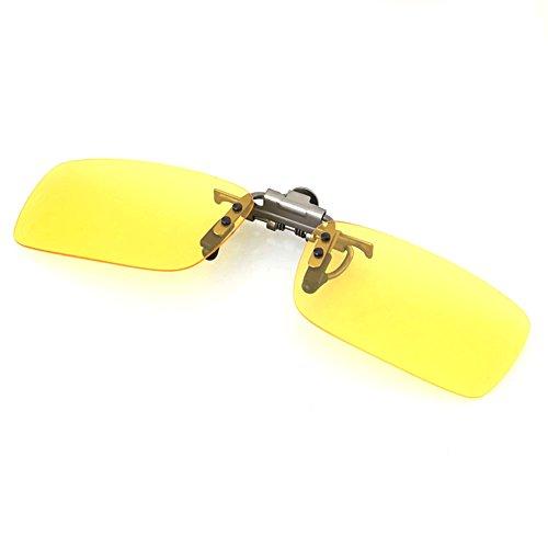 Glazata Polarized Clip-on Flip Up Metal Clip Rimless Sunglasses-Night Vision - Clip Sunglasses Loaded Spring On