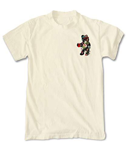 (Riot Society Tropical Hibiscus Bear Mens T-Shirt - Cream, Medium )