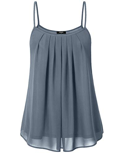 Lotusmile Women's Summer Cool Casual Sleeveless Pleated Chiffon Layered Cami Tank Top (Small, Blue ()