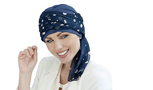 Daisy Cotton Chemo Hats for Women with Cancer or Alopecia Hair Loss (Navy Blue Polka Dot)