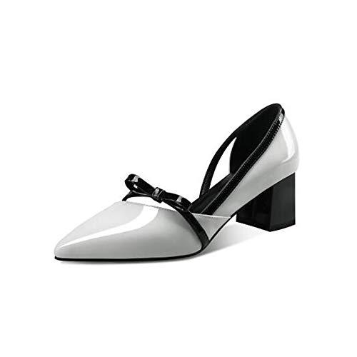 ZHZNVX Zapatos de Mujer Nappa Leather Summer Comfort Tacones Chunky Heel Blanco/Negro White