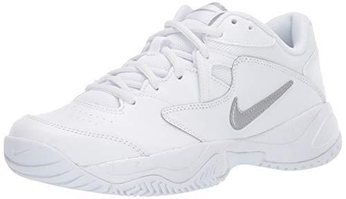 (Nike Women's Court Lite 2 Tennis Shoe, Metallic Silver-White, 8.5 Regular US)