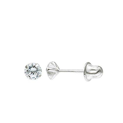 (14K White Gold Round Cubic Zirconia (CZ) Single Basket Screw Back Stud Earrings (4 mm, 0.43 ct))