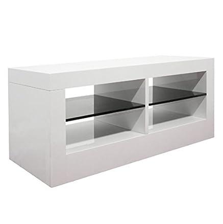 Base porta TV bifacciale laccato lucido bianco con mensole laccato ...
