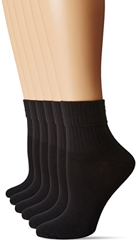 HUE Women's Turncuff 6 Pack, Black, One Size (4-10)