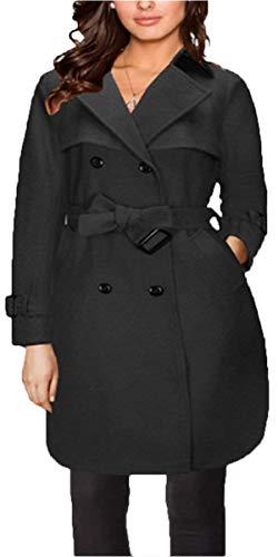 Con Primavera Elegante Fashion Cinturón Otoño Schwarz De Manga Transición Mujer Delgado Largos Huixin Lana Outerwear Modernas Casual Día Larga Abrigos Abrigo Simplemente qBxatnP