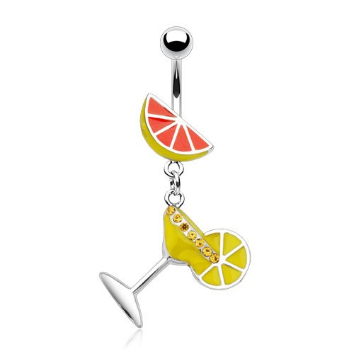 Enamel Martini Glass (Enamel Martini Glass with Lime 14g Navel Dangle Belly Ring (Yellow))