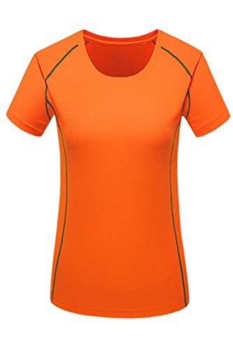 La Mujer Casual De Manga Corta Quick Dry Deportes Al Aire Libre Corriendo T Shirt Blusas Orange