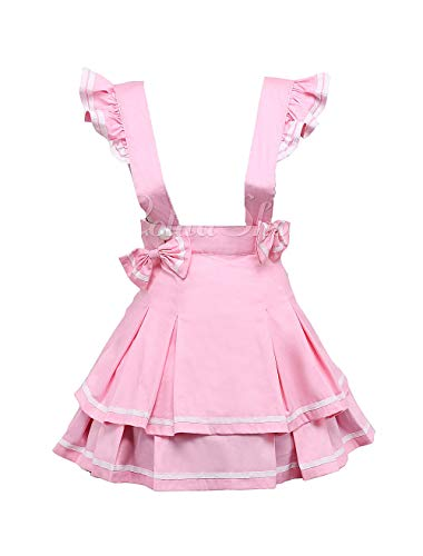 (Antaina Pink Suspenders Cotton Layered Bow Pleated Lolita Skirt Short Dress,S)