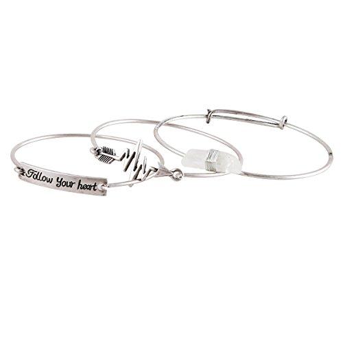Wire Bangle Arrow Follow Your Heart Bracelets Wrapped Quartz Stone Charm Statement Bracelet Silver (Bracelet Wire Wrapped Silver)