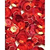 8mm CUP Sequins Red Loose Sequins for Embroidery, Applique, Arts, Crafts and Embellishment. 400 Loose Sequins