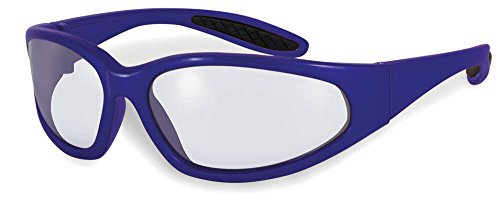 SSP Eyewear Safety Glasses with Blue Frames and Clear Anti-Fog Shatterproof Lenses, NACHES BLU CL/AF