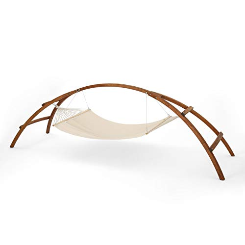 Great Deal Furniture 304044 Cassie Outdoor Teak Finish Larch Wood Arch Hammock with Cream Water Resistant Fabric (Larch Wood Outdoor Furniture)