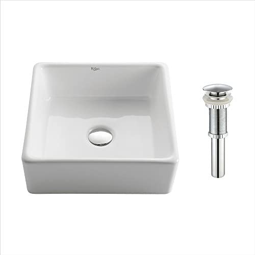 Kraus KCV-120-CH Ceramic undermount Square Bathroom Sink, 15.2 x 15.2 x 5.2 inches, Chrome White