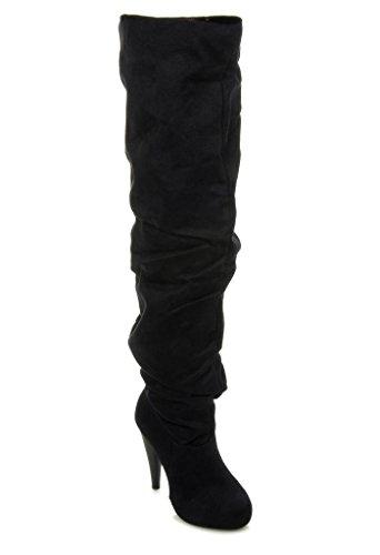 - Michael Antonio Women's Thigh High Slouchy Ruching Heel Boots MCKAY BLACK