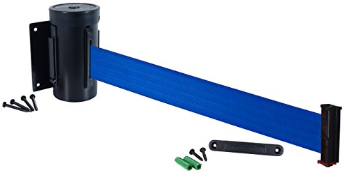 Visiontron WM700-auto-10SB-BL Retracta-Belt 10' Wall Mount Automatic Retracting Unit w/Standard Fixed/Removable Wall Plate - Black with Blue Belt, Standard Belt End