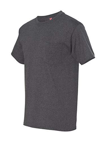 6.1 Ounce Pocket T-shirt - Men's 6.1 oz Hanes BEEFY-T T-Shirt w/Pocket, Charcoal Heather, L US (Chest 42-44)