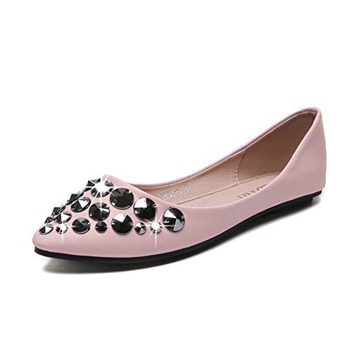 Mocassins Chaussures De Mode Dames Pink Causal Pointu Femmes Cristal Bout Unique w6qagrzBw