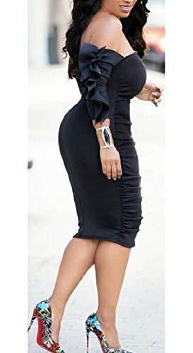 au Midi Vestito Increspato Clubwear Rosso Donne Cocktail Spalla Sodossny Sexy Dalla Aderente dfvTdqYUw