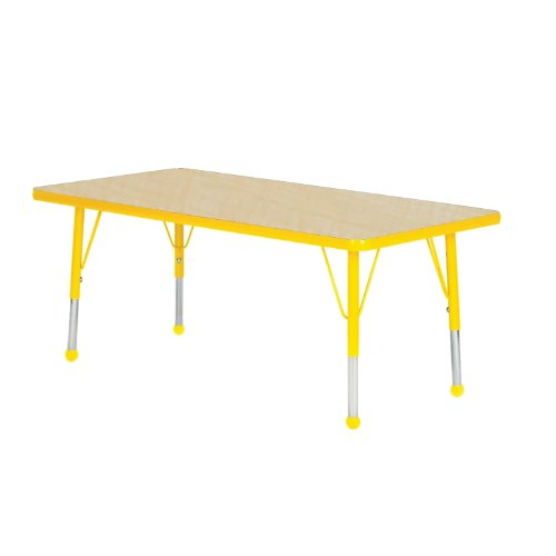 Mahar Kids 36'' X 60'' Rectangle Table Top Color: Maple, Edge Color: Yellow, Leg Height: Toddler 16''-24'', Glide Style: Ball by Mahar