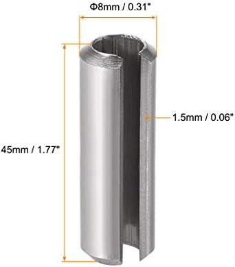 sourcing map M x mm 304 Acier Inoxydable Rouleau /à Ressort Fendu Goupilles Cylindriques Finition Unie 5Pcs M6 x 50mm