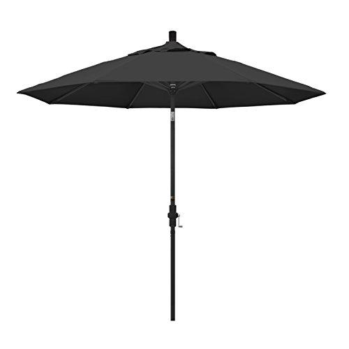 California Umbrella 9' Round Aluminum Market Umbrella, Crank Lift, Collar Tilt, Black Pole, Pacifica Black ()