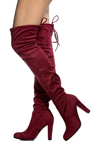 The Suede Boots Thigh Knee Burgundy Diva LUSTHAVE High Over Izwqp