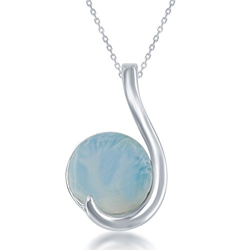 Sterling Silver Round Natural Larimar Curved Pendant with 18
