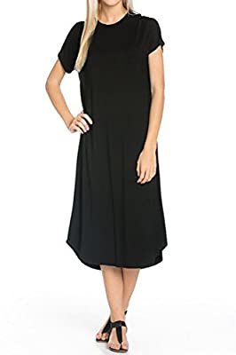 Iconic Luxe Women's A-Line Short Sleeve Midi Dress