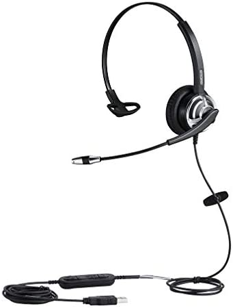 emaiker Mono USB HeadsetMicrophone Noise Cancelling and Volume Controls Computer Headphone HeadsetVoice Recognition Mic for PC Softphones Business Skype Lync Conference Online Course
