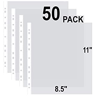 Ibzo 50 Clear Binder Sheet Protectors - 8.5 x 11 Inch Plastic Sleeves for Binders - Top Loading Transparent Paper, Business Document Covers for Storage - Acid Safe and Non-PVC - Non-Stick, Non-Glare