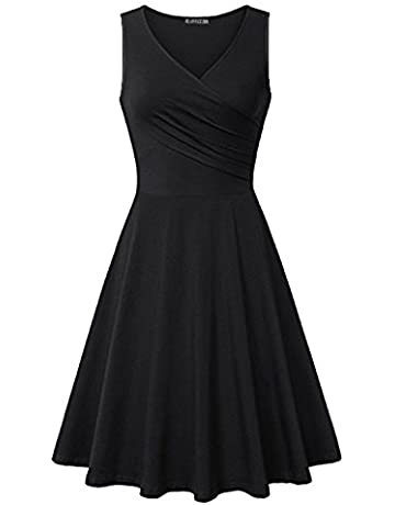 df6fbd78ca21 KILIG Women's V Neck Sleeveless Summer Casual Elegant Midi Dress