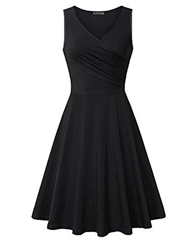 KILIG Women's V Neck Sleeveless Summer Casual Elegant Midi Dress(Black,L)
