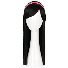 - 31IVUtFlG L - Topcosplay Kids Child Wigs Black Long Straight Cosplay Halloween Costumes Wig with Mask Headband