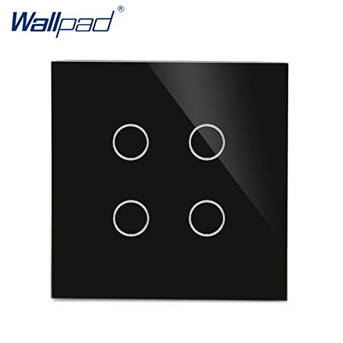 Black New Arrival 4 Gang 1 Way Wall Touch Switch Wallpad Luxury Crystal Glass Panel UK Switch Touch Interrupteur White Black  (color  White)
