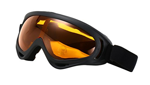 HaoMing Men's Windproof Goggles Snow Goggles UV400 Eyeglasses Black Frame